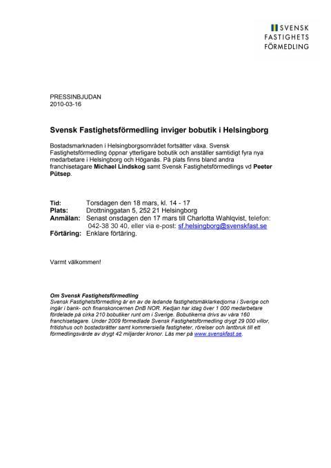 Pressinbjudan: Svensk Fastighetsförmedling inviger bobutik i Helsingborg