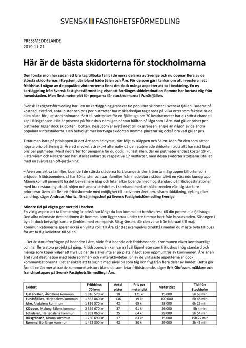Här är de bästa skidorterna för stockholmarna