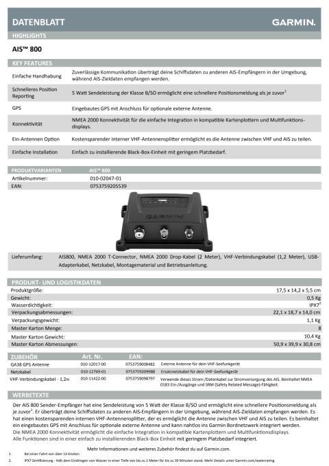 Datenblatt Garmin AIS800