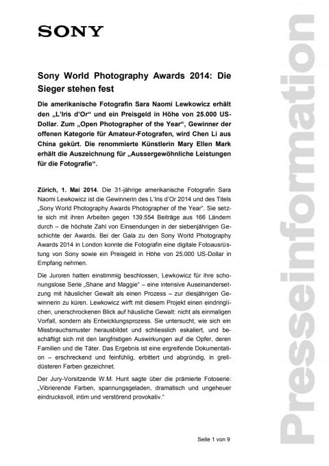 Medienmitteilung_SWPA Gewinner 2014_D-CH_140501
