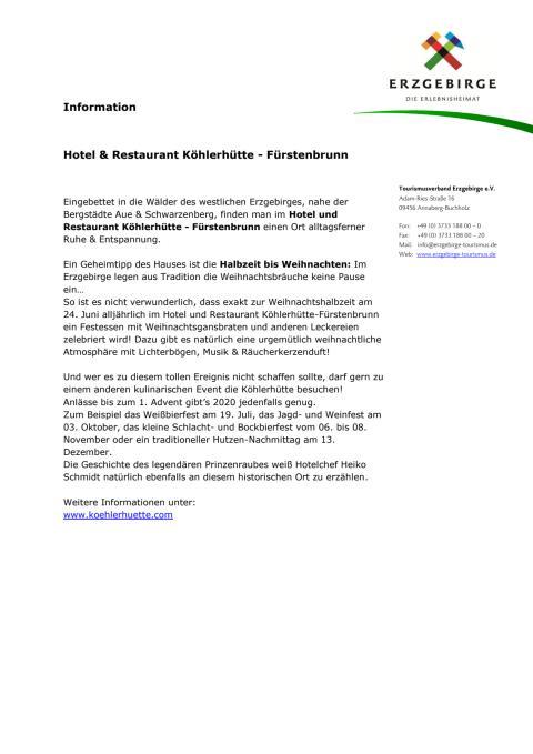 Information Hotel & Restaurant Köhlerhütte - Fürstenbrunn