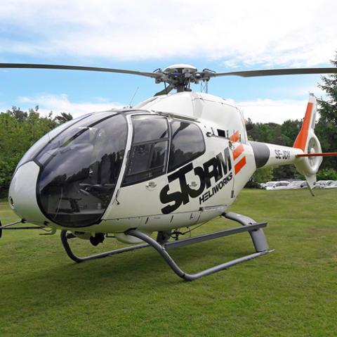 Tystare helikopter när Öresundskraft inspekterar ledningar från luften