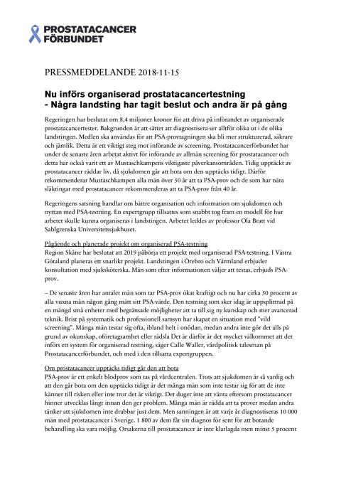 Pressmeddelande - Tidig upptäckt av prostatacancer