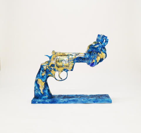 The Knotted Gun sculpture, named Ocean of Love