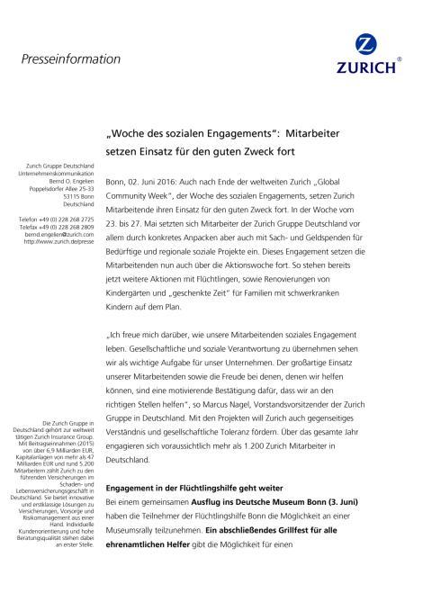 """""""Woche des sozialen Engagements"""":  Mitarbeiter setzen Einsatz für den guten Zweck fort"""