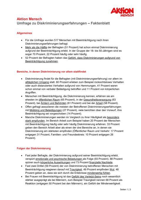 Umfrage zu Diskriminierungserfahrungen - Faktenblatt