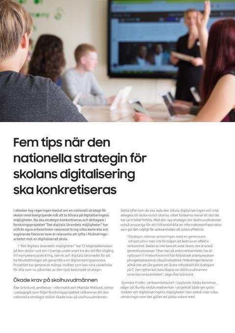 Fem tips när den nationella strategin för skolans digitalisering ska konkretiseras
