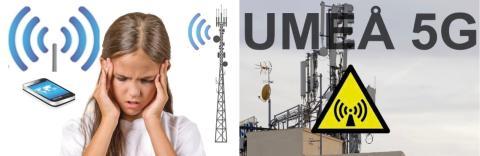 Umeåbor vill stoppa 5G. 200 forskare enade om miljö- och hälsofaran. Inbjudan till panelsamtal Umeå Universitet onsdag 10 april samt manifestation lördag 6 april.