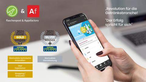 Digitale Revolution des Getränkehandels - Appsfactory gewinnt mit Vorzeigeprojekt Gold und Silber bei den German Stevie Awards 2021