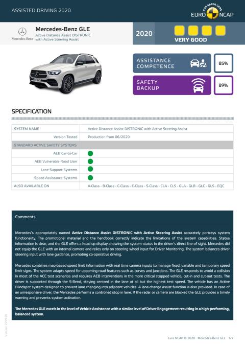 Mercedes-Benz GLE Euro NCAP Assisted Driving Grading datasheet