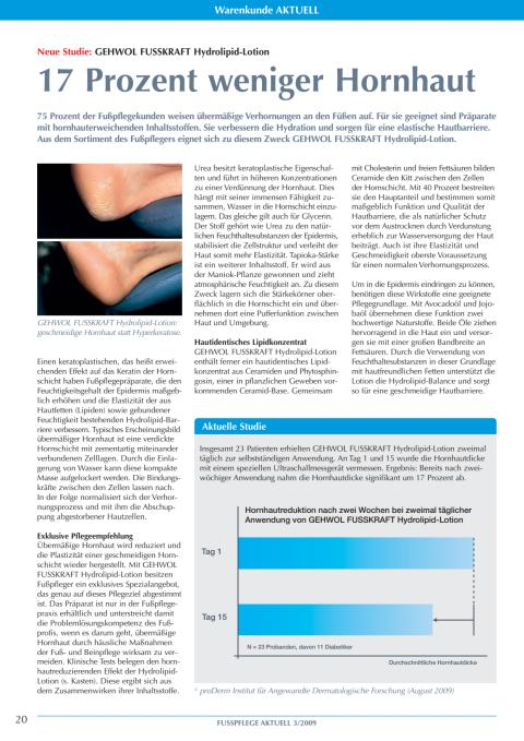 GEHWOL FUSSKRAFT Hydrolipid-Lotion: 17 Prozent weniger Hornhaut