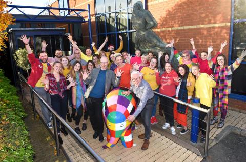 Elmer the Patchwork Elephant visits staff at Fred. Olsen House to mark 30 weeks until Elmer's Big Parade Suffolk