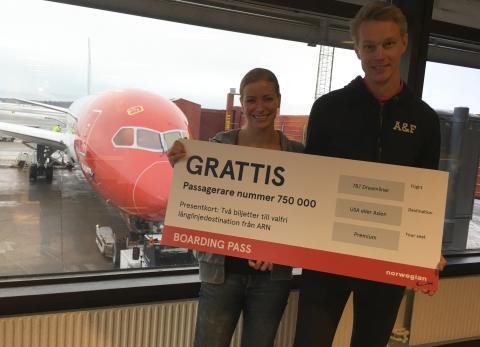 Sofie Sterner och Fredrik Tholén på väg till Fort Lauderdale med Norwegian