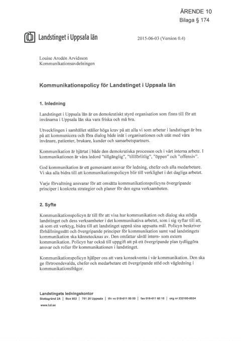 Kommunikationspolicy för Landstinget i Uppsala län