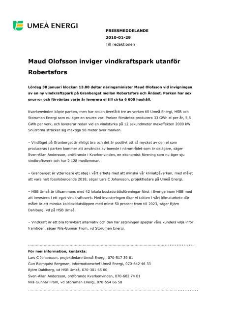 Maud Olofsson inviger vindkraftspark utanför Robertsfors