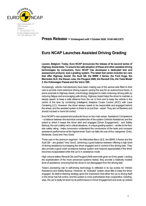 Euro NCAP Assisted Driving Grading - press release