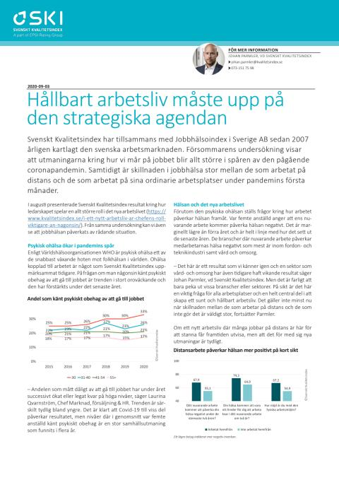 Hållbart arbetsliv måste upp på den strategiska agendan