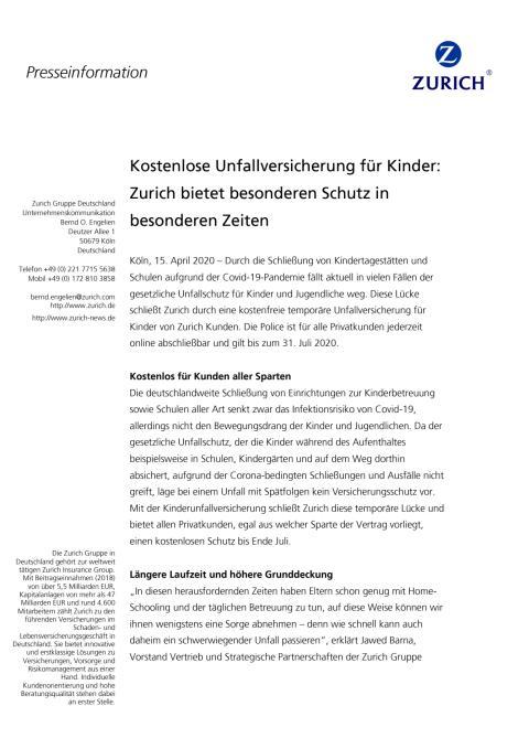 Kostenlose Unfallversicherung für Kinder: Zurich bietet besonderen Schutz in besonderen Zeiten