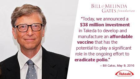 Takeda mottar $ 38 millioner dollar i støtte fra Bill & Melinda Gates Foundation