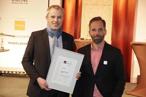 """""""Profi-Urlauber"""" Tom auf dem Siegerpodest des fvw Online Marketing Awards 2014"""