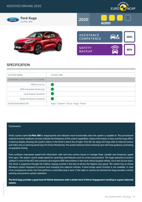 Ford Kuga Euro NCAP Assisted Driving Grading datasheet