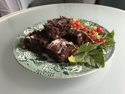 Brownie gjord på bönor