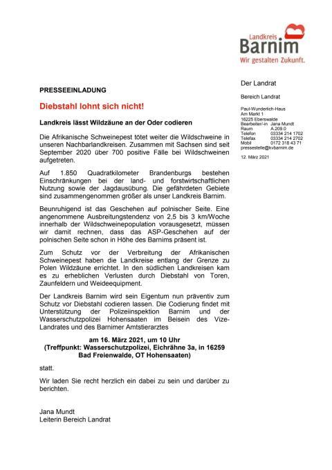 Codierung Wildzäune (Presseeinladung)