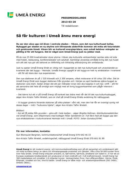 Så får kulturen i Umeå ännu mera energi