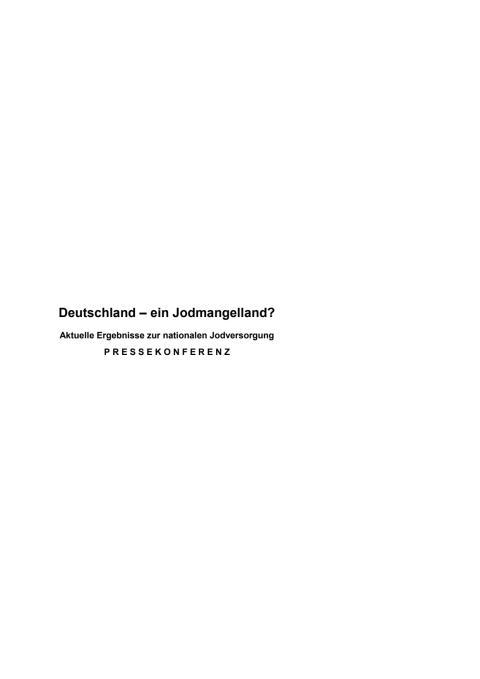 Pressemappe AKJ - Deutschland ein Jodmangelland