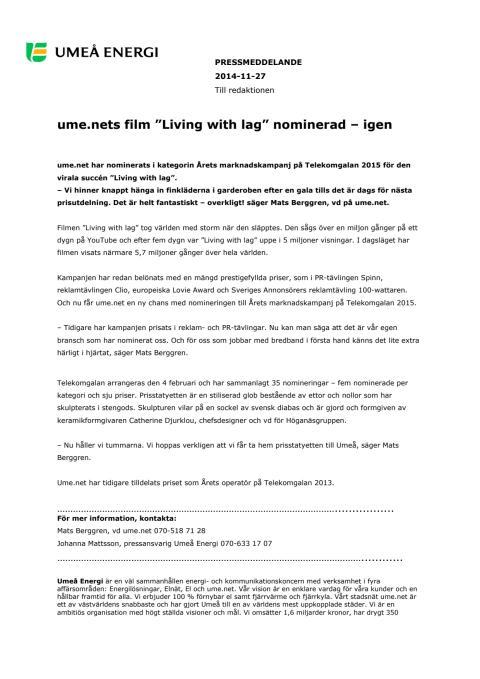 "Ume.nets film ""Living with lag"" nominerad – igen"