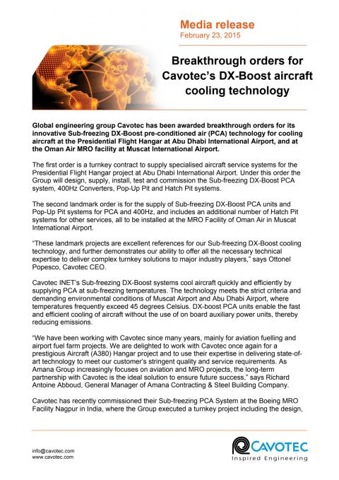 Breakthrough orders for Cavotec's DX-Boost aircraft cooling technology