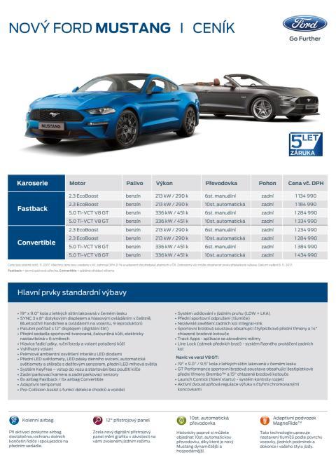 Aktuální ceník nového Fordu Mustang MR 2018