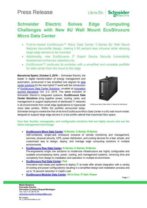 Schneider Electric Solves Edge Computing Challenges with New 6U Wall Mount EcoStruxure Micro Data Center