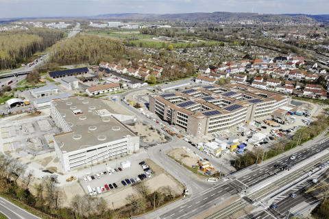 Luftbild Neubau dm-Zentrale Karlsruhe Untermühlsiedlung
