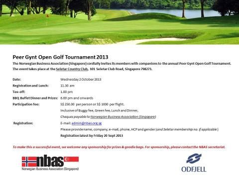 Invitation to the annual Peer Gynt Open Golf Tournament - Wednesday 2 October 2013
