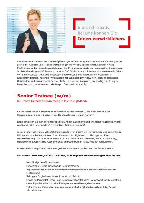 Santander Senior Trainee Programm