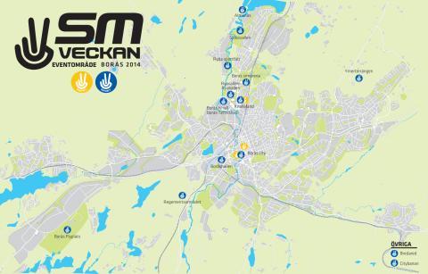 Tävlings- och eventområden, SM-veckan Borås 2014