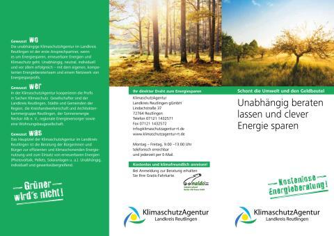 Flyer KlimaschutzAgentur im Landkreis Reutlingen gGmbH