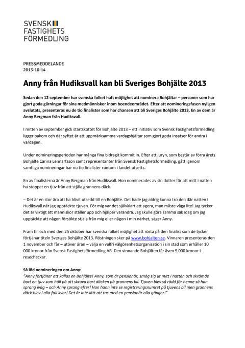 Anny från Hudiksvall kan bli Sveriges Bohjälte 2013
