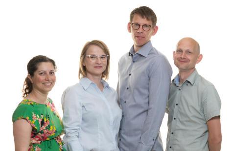 G4 Cancer Cure. Biochemist Nasim Sabouri, Project Manager Milada Jamroskovic, chemist Erik Chorell and cell biologist Sjoerd Wanrooij.