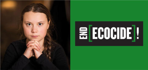 Greta kräver att EU ska förespråka ekocid som internationellt brott. Så länge det är fullt lagligt att förstöra ekosystem kommer vi inte kunna hejda klimatförändringarna. #EndEcocide
