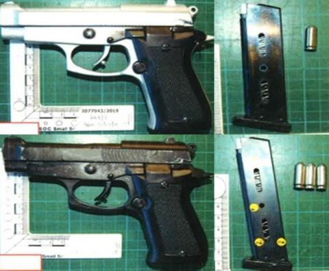Officers recovered two firearms
