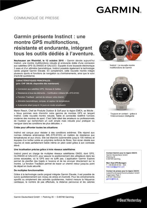 Garmin présente Instinct : une montre GPS multifonctions, résistante et endurante, intégrant tous les outils dédiés à l'aventure.