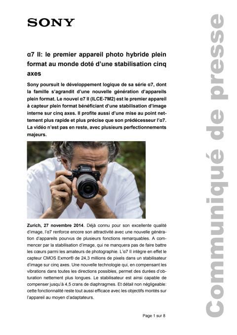 Communication de presse_Alpha7II_F-CH_141127