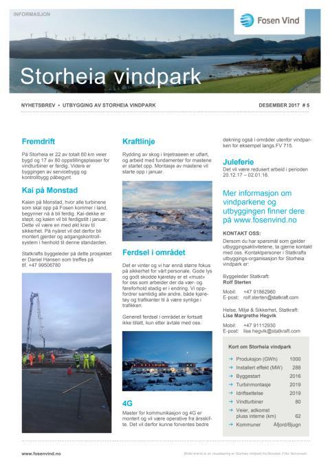 Nyhetsbrev Stoheia vindpark #5 - 2017