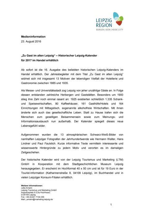Pressemitteilung zur Veröffentlichung des historischen Leipzig-Kalenders 2017