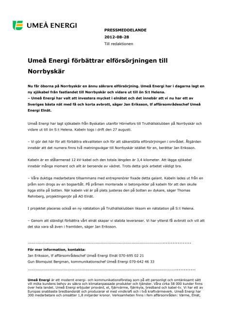 Umeå Energi förbättrar elförsörjningen till Norrbyskär