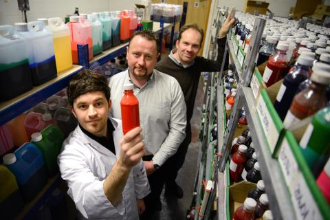 L-R: Multichem product development manager Dr Tom Winstanley, Multichem managing director Michael Nelson and Professor Justin Perry of Northumbria University.