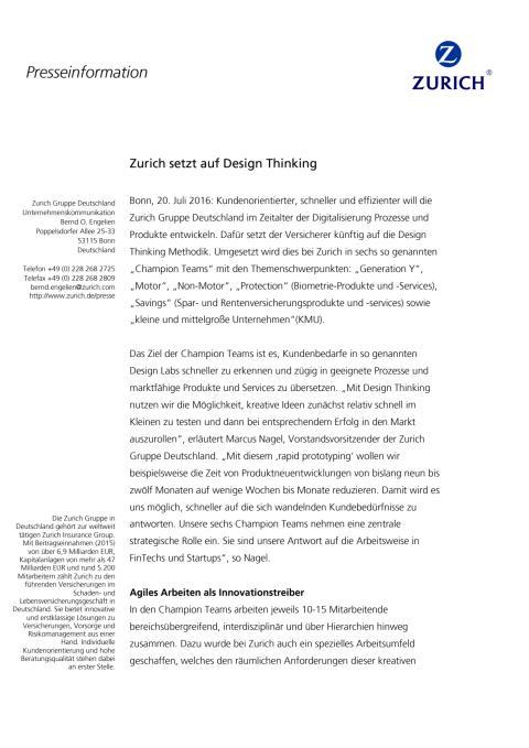 Zurich setzt auf Design Thinking
