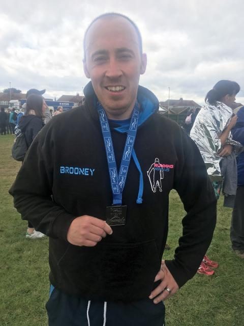 Driver Kevin Brown after completing last year's Great North Run